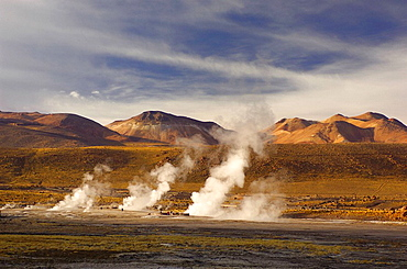 Chile, South America, Tatio Geysers, San Pedro de Atacama, Altiplano, Antofagasta, landscape, South America, volcanism. Chile, South America, Tatio Geysers, San Pedro de Atacama, Altiplano, Antofagasta, landscape, South America, volcanism