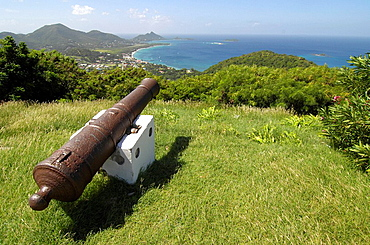 Grenada, Carriacou island, Carribean, Grenadines island chair, Lesser Antilles, America, view to Hillsborough, cannon, . Grenada, Carriacou island, Carribean, Grenadines island chair, Lesser Antilles, America, view to Hillsborough, cannon,