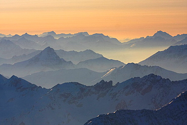 Germany, Europe, Alps, Bavaria, View, from Zugspitze, Winter, Landscape, Scenic, scenery, landscape, Panorama, Panoram. Germany, Europe, Alps, Bavaria, View, from Zugspitze, Winter, Landscape, Scenic, scenery, landscape, Panorama, Panoram