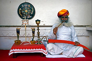 India, State of Rajasthan, Jodhpur city, Meherangarh Fort, Asia, travel, January 2008, man, one, portrait, smoking, Ho. India, State of Rajasthan, Jodhpur city, Meherangarh Fort, Asia, travel, January 2008, man, one, portrait, smoking, Ho