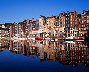 France, Europe, Honfleur, harbor, port, Normandy, tall, buildings, reflected, water, moored, boats, French, town, Calv. France, Europe, Honfleur, harbor, port, Normandy, tall, buildings, reflected, water, moored, boats, French, town, Calv