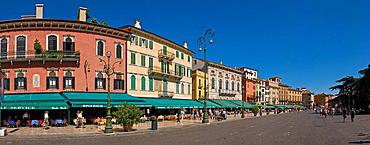 Italy, Europe, Piazza Bra, Verona, city, town, summer, people, square, cafe. Italy, Europe, Piazza Bra, Verona, city, town, summer, people, square, cafe