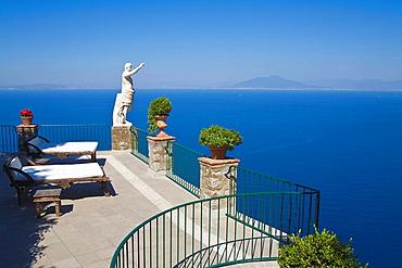 Italy, Europe, Capri, Campania, hotel, balcony, sunbeds, loungers, nobody, Bay of Naples, Anacapri, travel, holiday, v. Italy, Europe, Capri, Campania, hotel, balcony, sunbeds, loungers, nobody, Bay of Naples, Anacapri, travel, holiday, v