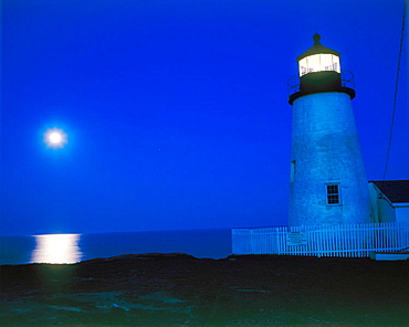 Lighthouse by night, Pemaquid Point, Maine, USA