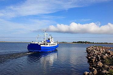 departing ferry at the port Munalaiu near Paernu, Estonia, Baltic Nation, Eastern Europe.