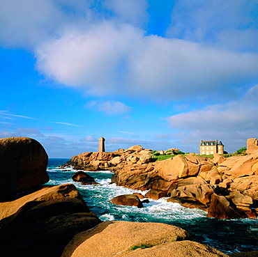 Ploumanach rocks and Pors Kamor lighthouse, Bretagne, France