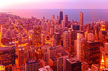 Chicago, from above, from Willis Tower, Chicago, Illinois, USA, United States, America, buildings, lake Michigan, lights, dusk, by night, city. Chicago, from above, from Willis Tower, Chicago, Illinois, USA, United States, America, buildings, lake Michigan, lights, dusk, by night, city