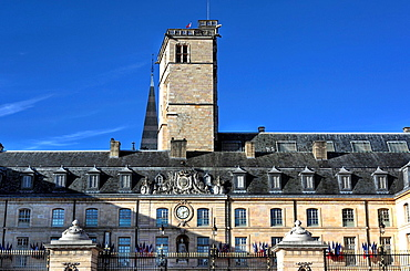 France, French, Western Europe, Europe, European, Architecture, building, City, town, Facade, Blue sky, Dijon, Burgundy, Philippe le Bon Tower, Philip the Good, Cote_dOr departement, Bourgogne, Travel. France, French, Western Europe, Europe, European, Architecture, building, City, town, Facade, Blue sky, Dijon, Burgundy, Philippe le Bon Tower, Philip the Good, Cote_dOr departement, Bourgogne, Travel