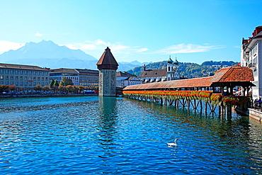 Swizterland, Canton Lucerne, Lucerne, Chapel Bridge and Water Tower. Swizterland, Canton Lucerne, Lucerne, Chapel Bridge and Water Tower