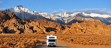 RV, Camper, Alabama Hills, Lone Pine, California, USA, United States, America, road, landscape. RV, Camper, Alabama Hills, Lone Pine, California, USA, United States, America, road, landscape