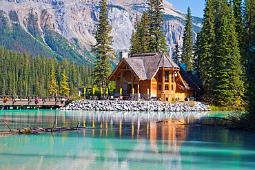 Picturesque log cabin, Emerald Lake, Yoho NP, British Columbia, Canada