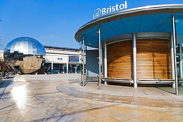 Millennium Square with Planetarium, @Bristol, At-Bristol, Harbourside, Canons Wharf, Bristol, Gloucestershire, England, UK.