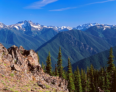Mt  Deception top left rises above densely forested ridges and valleys and nearby rock outcrop, view south from Deer Park, Olympic National Park, Washington, USA