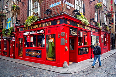 The Temple Bar in the district of Temple Bar, on the south bank of the River Liffey in central Dublin, Ireland