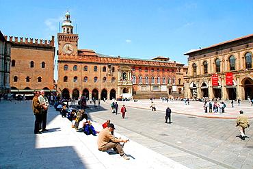 Palazzo Comunale (Town Hall) in Piazza Maggiore (Main Square), Bologna, Emilia-Romagna, Italy