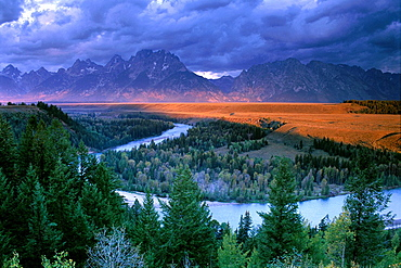 Stormy sunrise over the Grand Tetons from the Snake River Overlook, Grand Teton National Park, WYOMING