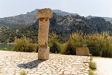 Spain, Balearic Islands, Mallorca, Monument Talayotic settlement of the Sierra de Almallutx the Gorg Blau reservoir