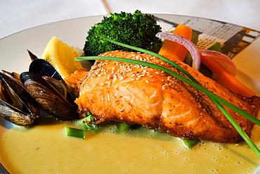 Salmon, chive sauce Sjobua Restaurant Alesund More og Romsdal, Norwegian fjords, Norway
