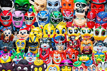 Street carnival, Mask booth, Montevideo, Uruguay, South America