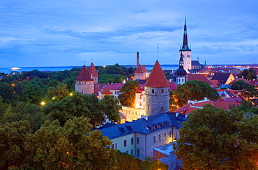 elevated view with St Olaf's Church from Toompea district, Tallinn, Estonia