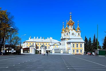 Church of the palace 1747-1751, Architect Francesco Bartolomeo Rastrelli, Peterhof, near St Petersburg, Russia