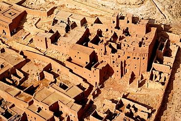 Aerial view of a ksar, Ait Ben Haddou, Southern Morocco
