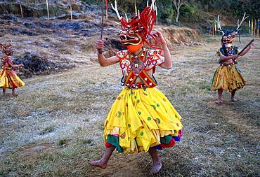 Bhutan, Trongsa, festival, stag dance,