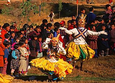 Bhutan, Trongsa, festival, skeleton dance,