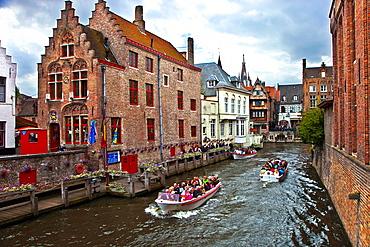 Canals in the city, Bruges, Brugge, Flanders, Belgium, UNESCO World Heritage Site