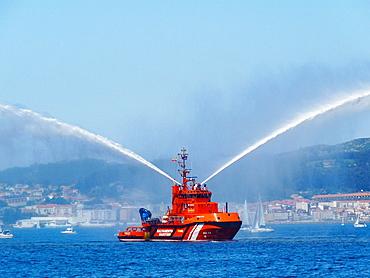 Firefighter boat, Ria de Vigo, Galicia, Spain