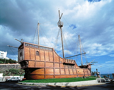 Spain, Canary Islands, La Palma, Santa Cruz de la Palma, Naval Museum, replica of Christopher Columbus' ship 'Santa Maria'