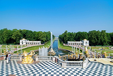 View on the Lower Park of Peterhof Palace St Petersburg, Russia