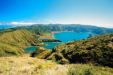 Fire Lake Lagoa do Fogo in a sunny day Sao Miguel island, Azores islands, Portugal