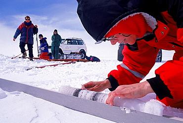 Research Scientist Examining an Ice Core, Vatnajokull Ice Cap, Iceland