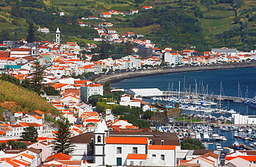 View over Horta town and marna on Faial island in The Azores