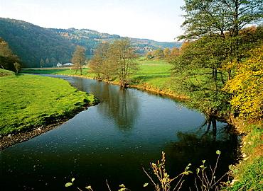 Germany, Neustadt (Wied), nature reserve Rhine-Westerwald, Rhineland-Palatinate, Wied landscape, autumn