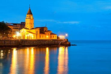 San Pedro church, night view. Gijon, Asturias province, Spain