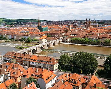 Germany, Wurzburg, Main, Franconia, Bavaria, city view, view across the Old Town, Old Main Bridge