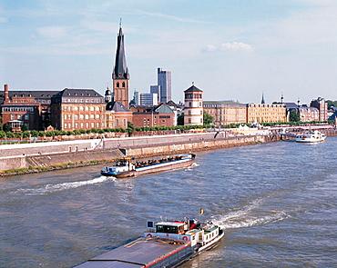 Germany, Dusseldorf, Rhine, North Rhine-Westphalia, Rhine promenade, Old Town view, cargo ships