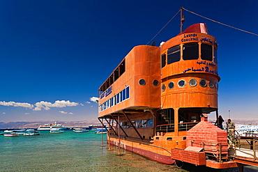 Jordan, Aqaba, floating restaurant, Aqaba beach