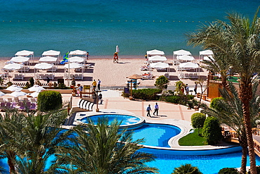 Jordan, Aqaba, elevated view of Red Sea and beach