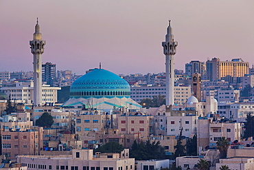 Jordan, Amman, elevated view King Abdullah Mosque, dawn
