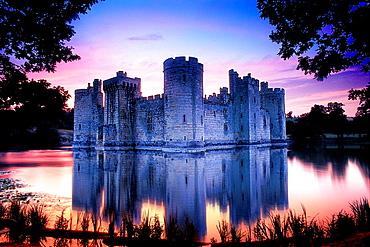 Bodiam Castle, Sussex, England, United Kingdom at sunset