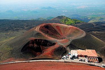 Hikers Visitors Mt Etna Lava Rock Volcano Taormina Sicily Mediterranean Sea Island