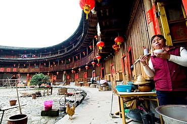 Inside a Tulou in Fujian.
