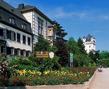 Germany, Eltville am Rhine, Rhine, Kiedrich Brook, Rheingau, Rheingaugebirge, Taunus, Hesse, Rhine promenade, Place of Montrichard, former guest house The Rose, manor house, flower beds, electoral castle