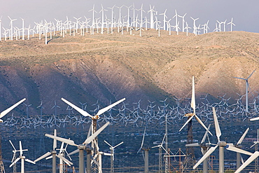 Wind turbines generating electricity on the San Gorgonio Pass Wind Farm serving Palm Springs, California, USA