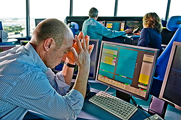 Office operator stress at the computer, Office computer Stress Pointsman Sky Air Traffic