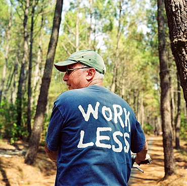 Senior in forest in Work Less T shirt, Senior in forest in Work Less T shirt