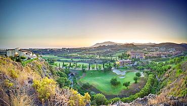 Spanish golf course at dusk, Spanish golf course at dusk